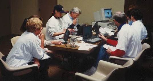 Teachers in the early 90s learning with laptops