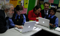 Seymour Papert & I visit laptop classroom in 2004
